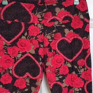 LuLaRoe Valentine ❤️Leggings Hearts & Roses Sz TC